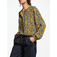 And/or Liberty Marrakesh Oversized Blouse, Blue/mustard