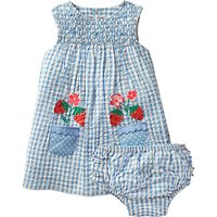 Mini Boden Baby Floral Smock Dress and Knickers Set, Blue