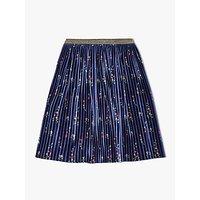 John Lewis & Partners Girls' Floral Print Velvet Skirt, Navy