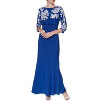 Gina Bacconi Ophelia Embroidered Maxi Dress, Royal Blue