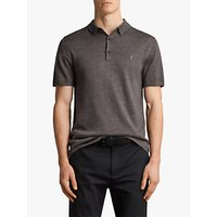 AllSaints Mode Merino Wool Knitted Short Sleeve Polo Shirt, Heath Grey Marl, XS