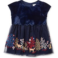 John Lewis & Partners Baby Velour Embroidered Party Dress, Navy