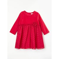 John Lewis & Partners Baby Velour Half And Half Party Dress, Red