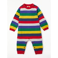 John Lewis & Partners Baby Knitted Stripe Romper, Multi