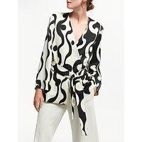 Marella Quentin Swirl Print Wrap Top, Wool White