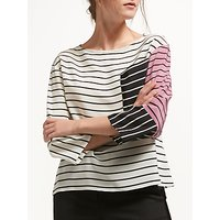Marella Rod Stripe Silk Blouse, Wool White/Multi