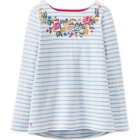 Joules Harbour Embroidered Stripe Jersey Top, Light Blue/White