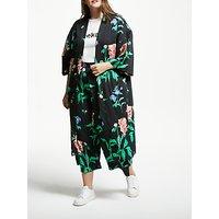 Junarose Paliva Floral Print Kimono, Black