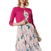 Karen Millen Colour Block Bandage Cardigan, Fuchsia