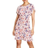 Yumi Floral Print Crinkle Dress, Ivory/Multi