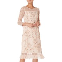Raishma Floral Embellished Frill Dress, Blush