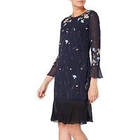 Raishma Embellished Floral Fluted Hem Dress, Navy