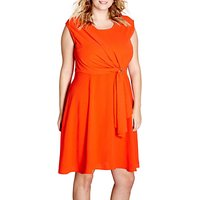 shop for Yumi Curves Drape Eyelet Dress, Red at Shopo