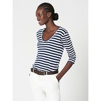 Winser London Pure Linen Striped Top, Navy