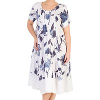 Chesca Floral Print Linen Dress, White/Navy
