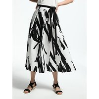 Weekend MaxMara Brush Stroke Print Skirt, White/Black