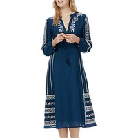Brora Embroidered Midi Kaftan Dress, Blue