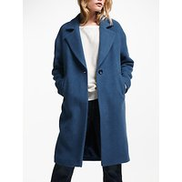 And/or Relaxed Single Breasted Midi Coat, Blue