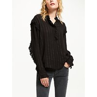 And/or Emma Metallic Stripe Blouse, Black/silver