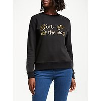 Collection WEEKEND by John Lewis Gin-Gle All The Way Christmas Sweatshirt, Black/Gold