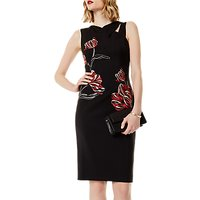 Karen Millen Floral Placed Dress, Black/Multi