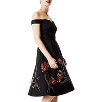 Karen Millen Tulip Embroidered Bardot Dress, Black/Multi