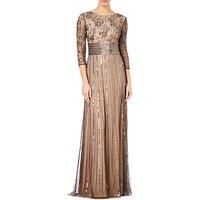 Adrianna Papell Beaded Long Dress, Black/neutral