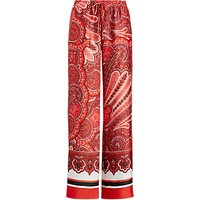 Polo Ralph Lauren Ziakash Wide Leg Paisley Trousers, Red/Multi