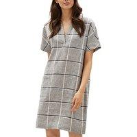 Jaeger Patch Pocket Linen Dress, Grey Check