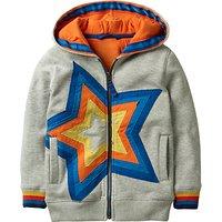 Mini Boden Boys' Starry Zip Up Hoodie, Grey