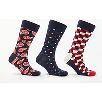 Happy Socks Flower Gift Box, One Size, Pack of 4, Navy/Red