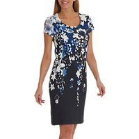 Betty Barclay Floral Print Dress, Blue/Cream