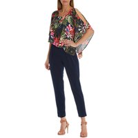 Betty Barclay Printed Chiffon And Jersey Jumpsuit, Peacoat Blue