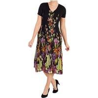 Chesca Floral Border Dress, Black/multi