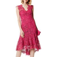 Karen Millen Peplum Hem Lace Dress, Pink