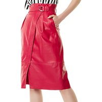 Karen Millen D-Ring Leather Skirt, Pink