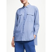 John Lewis & Partners Chambray Safari Shirt, Blue