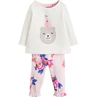 Baby Joule Poppy Bear Two Piece T-shirt And Leggings Set, Cream/pink