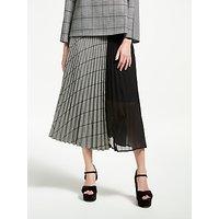 Marella Check Sold Pleated Skirt, Black