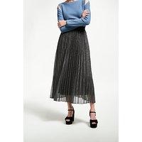 Marella Empoli Pleated Glitter Skirt, Dark Grey