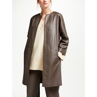 Modern Rarity Leather Cut Edge Collarless Coat, Iron
