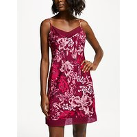 John Lewis & Partners Ophelia Floral Print Satin Chemise, Pink/Multi