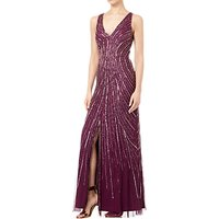 Adrianna Papell Tulle Sleeveless Beaded Long Dress, Cabernet