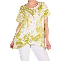 Chesca Printed Drape Linen Top, Green