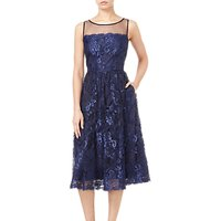 Adrianna Papell Sleeveless Tea Length Dress, Navy