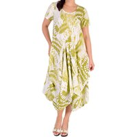 Chesca Printed Drape Linen Dress, Apple Green/White