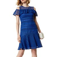 Karen Millen Geometric Chemical Lace Dress, Blue