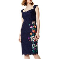 Karen Millen Flower Bouquet Embroidery Lace Dress, Navy/Multi