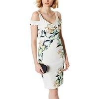 Karen Millen Floral Print Dress, White/Multi