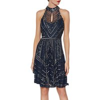 Gina Bacconi Calypso Beaded Halterneck Dress, Navy